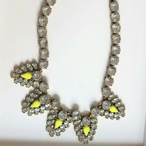 J. Crew rhinestone neon yellow stone necklace
